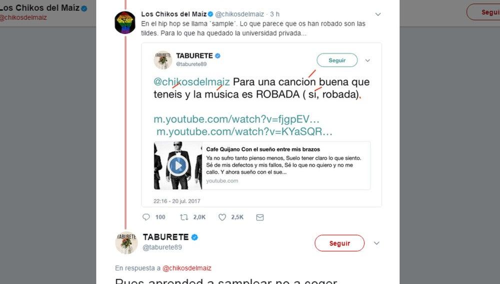 Guerra en Twitter entre Taburete y Los Chikos del Maíz