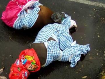 Los cuerpos de los animales envueltos en plástico en plena calle