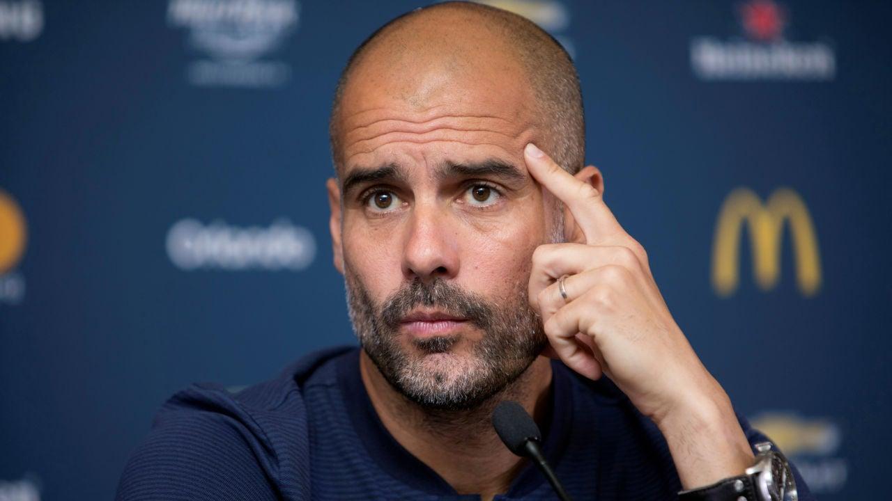Pep Guardiola, durante la rueda de prensa