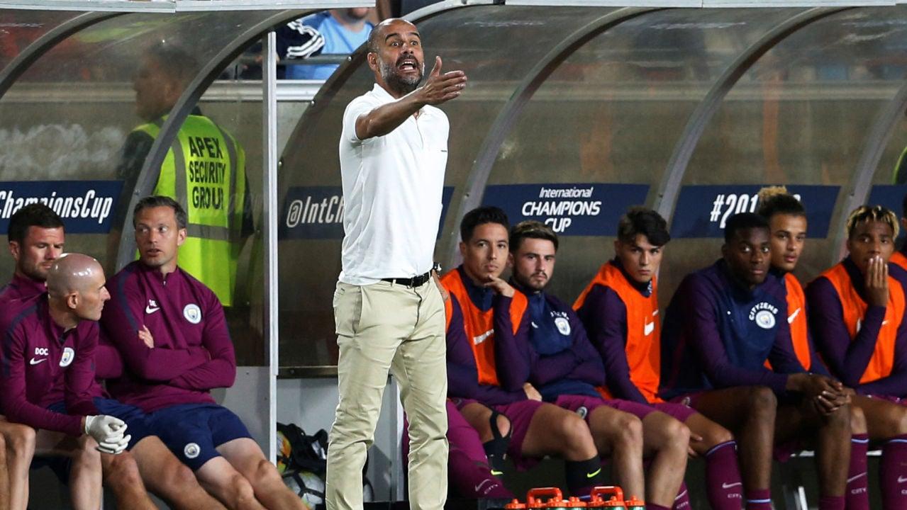 Guardiola, durante el City - Real Madrid