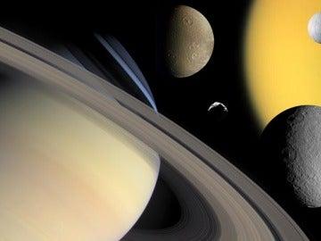 Saturno y algunos satélites, entre ellos Titán