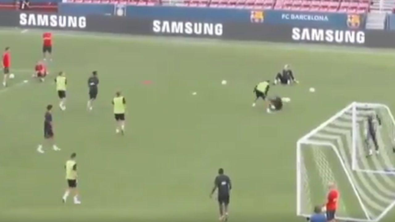 Neymar y Semedo, en otro entrenamiento del Barcelona