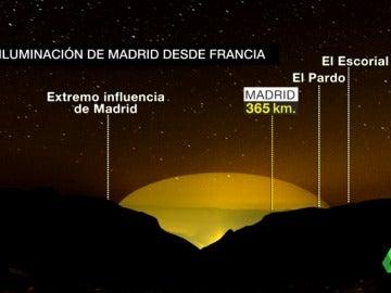 La burbuja lumínica de Madrid que puede verse desde Francia