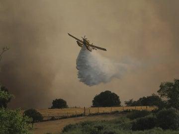 Una aeronave en las labores de extinción del incendio de Zamora