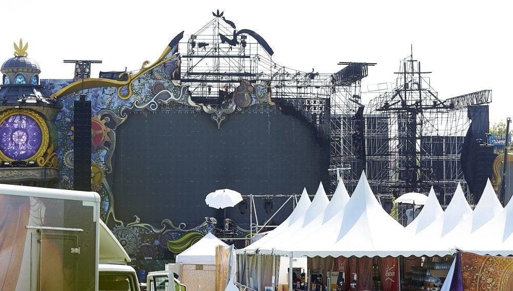 El escenario de Tomorrowland Barcelona tras el incendio