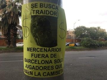 El cartel que encontró Globoesporte en el Camp Nou