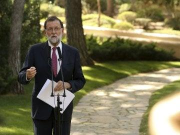 Mariano Rajoy, presidente del Gobierno, tras su reunión con Felipe VI