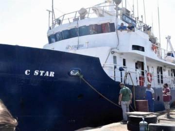 Vista del barco antinmigración C-Star en el puerto de Famagusta, en el Norte de Chipre.