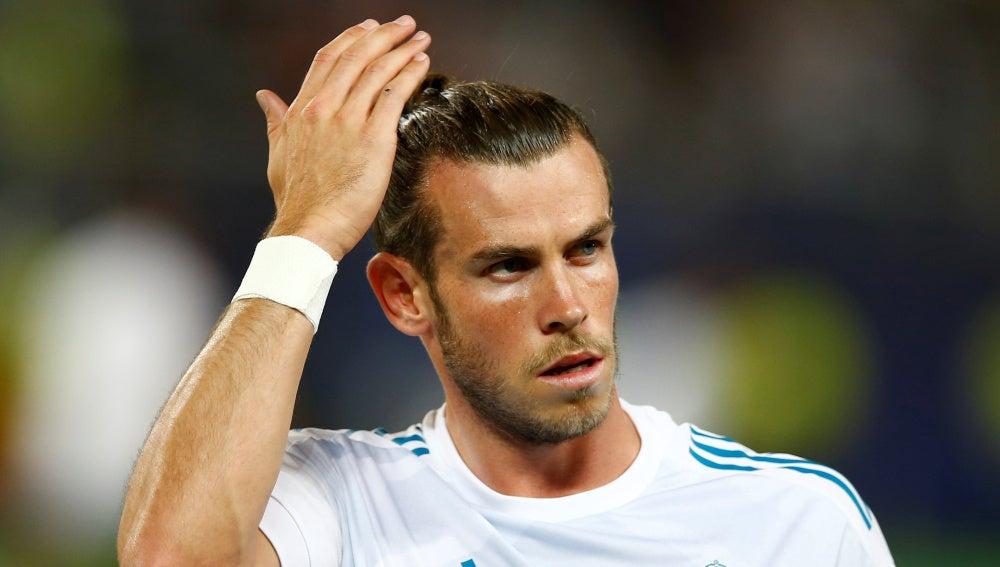 Bale, durante el calentamiento de la Supercopa de Europa
