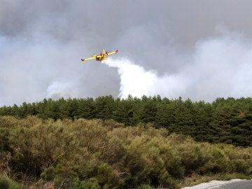 Trabajos de extinción del incendio declarado en el municipio abulense de Navarredonda de Gredos