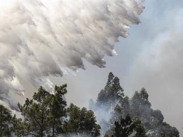 Un hidroavión descarga agua sobre un incendio forestal declarado en Bracal, Abrantes