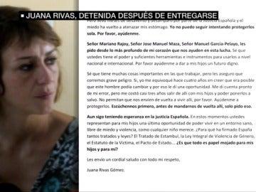 Juana Rivas pide ayuda por carta a Rajoy