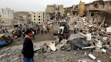 Bombardeo en Saná (Yemen)