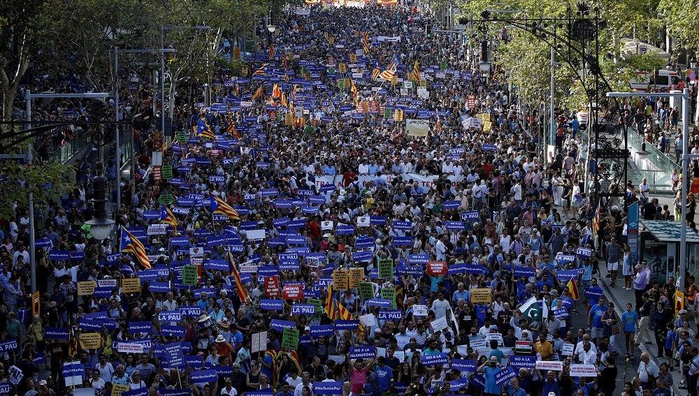 Manifestación antiterrorista en Barcelona