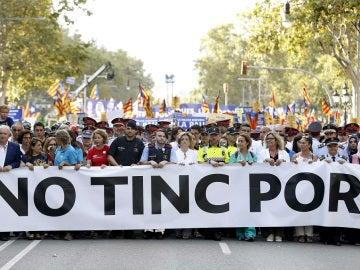 La cabecera de la manifestación de Barcelona No Tinc Por