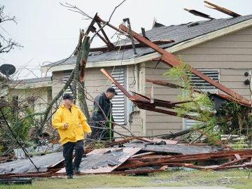 Una casa destrozada en Rockport, la localidad tejana en la que 'Harvey' tocó tierra