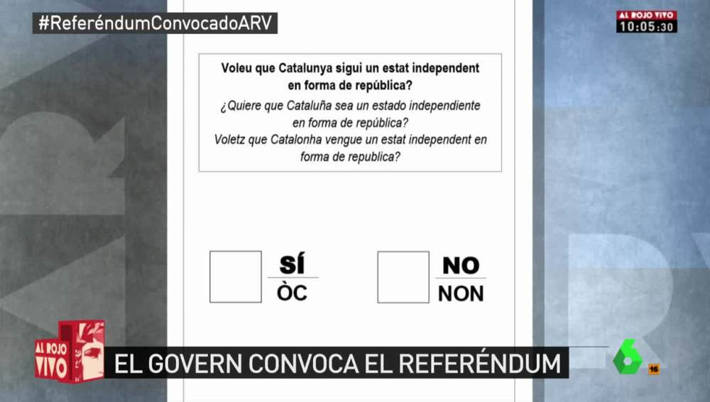 Pregunta del referéndum en Cataluña