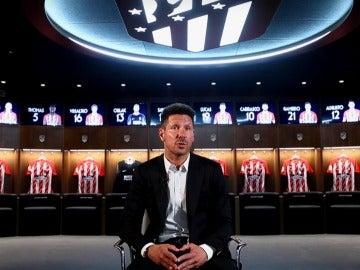 Simeone, durante su entrevista con el medio oficial del Atlético de Madrid