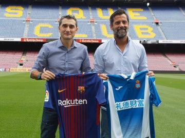 Ernesto Valverde y Quique Flores posan juntos
