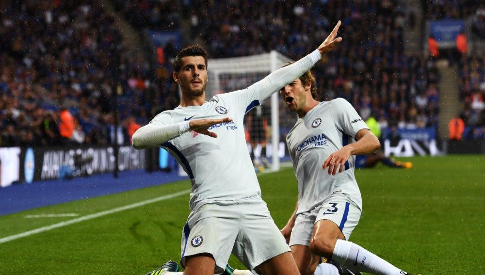 Morata celebra un gol
