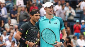 Rafa Nadal y Kevin Anderson, antes de disputar la final del US Open