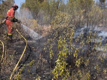 Los bomberos trabajan para apagar el incendio de Sevilla