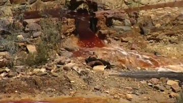 Vertido de agua tóxica en el río Odiel