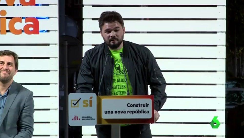 """Gabriel Rufián: """"Una urna no rompe España. El franquismo morirá el 1 de octubre"""""""