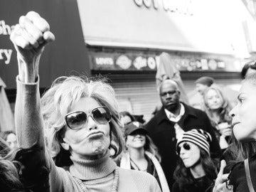 Jane Fonda, en un acto de protesta