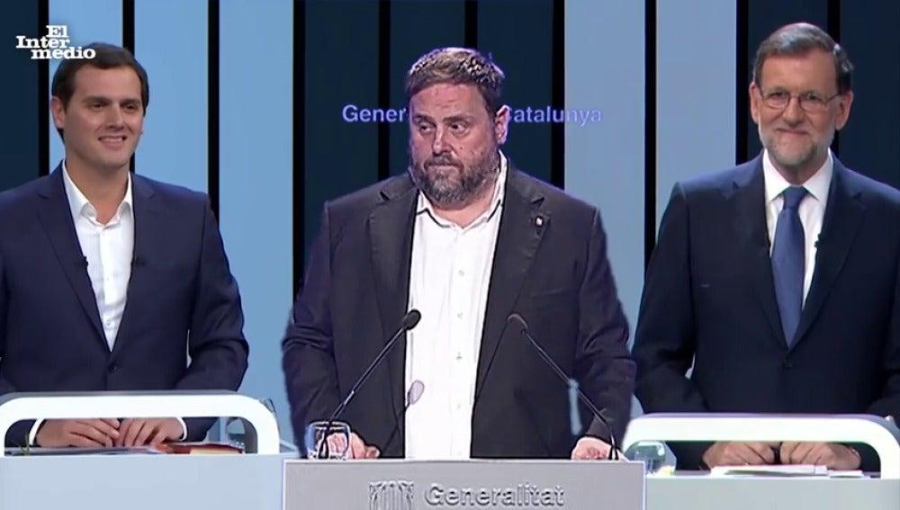 Mariano Rajoy y Albert Rivera respaldan a Oriol Junqueras en su discurso sobre el referéndum