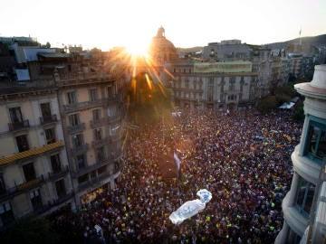 Manifestación en Barcelona por las detenciones y el 1 de octubre