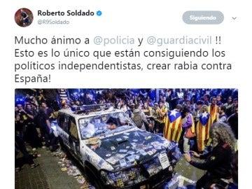 El tuit de Roberto Soldado referido a la situación en Cataluña