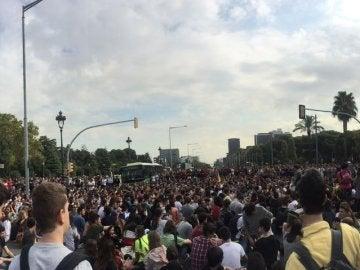 Los estudiantes universitarios se movilizan en Barcelona a favor del referéndum del 1-O