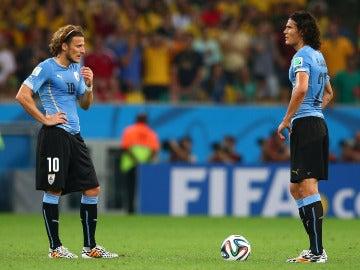 Forlán y Cavani en la selección de Uruguay