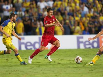 El Villarreal, en el partido de la Europa League ante el Maccabi.