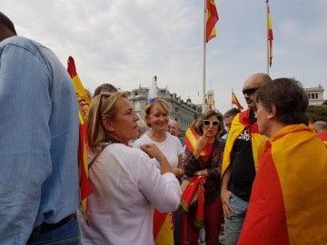 Esperanza Aguirre, en la manifestación en Madrid contra el 1-O