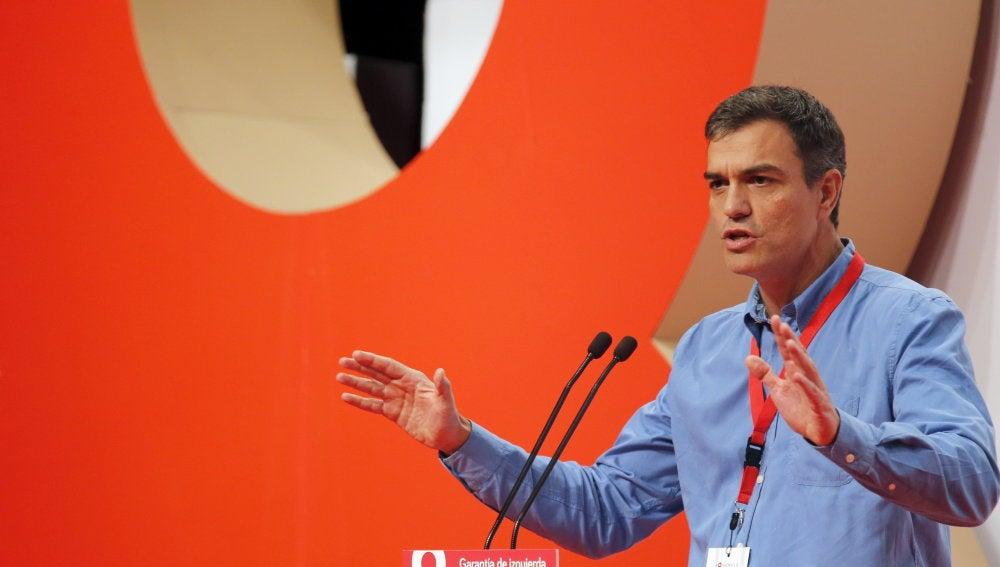 El secretario general del PSOE, Pedro Sánchez, durante su intervención en el VIII Congreso que el PSE-EE