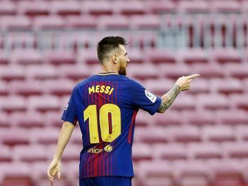 Messi celebra uno de sus goles ante Las Palmas