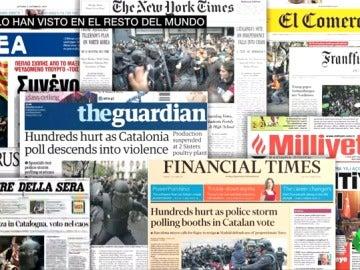 Fotos de la Policía y la palabra violencia: así ha visto el resto del mundo el 1-O