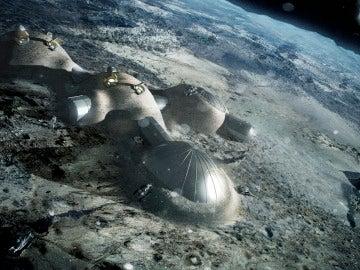 Ilustración que muestra cómo sería una base lunar construida por robots con bloques impresos en 3D