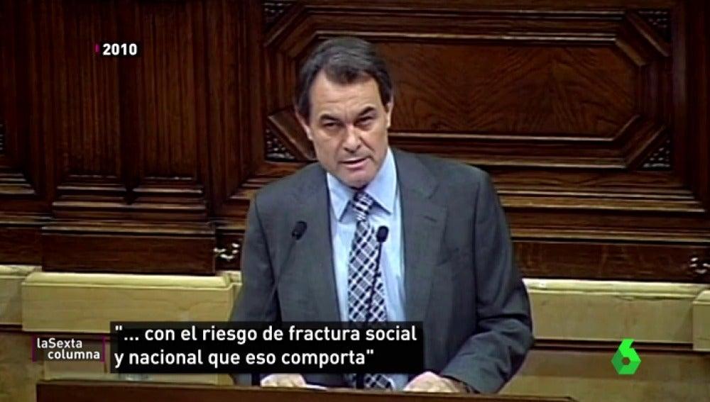"""La época en la que Artur Mas tenía miedo de una fractura social por el independentismo: """""""""""