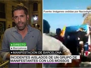 Incidentes aislados de un grupo de manifestantes con los Mossos d'Esquadra