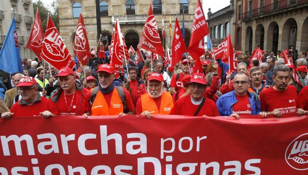 Marcha que partió de Asturias hasta Madrid el pasado 30 de septiembre en defensa de unas pensiones dignas