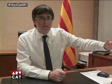 Carles Puigdemont en una entrevista en TV3