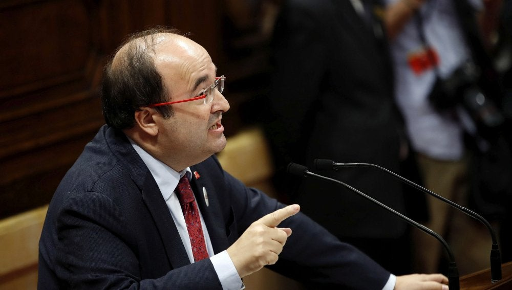 El Secretario General de los socialistas catalanes Miquel Iceta, durante su comparecencia en el Parlament