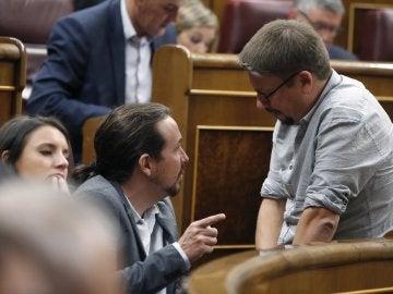Unidos Podemos, en su bancada en el Congreso