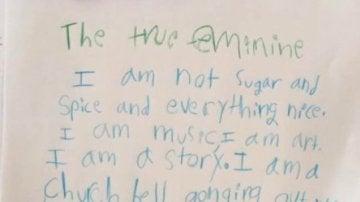 Poema feminista de una niña de ocho años