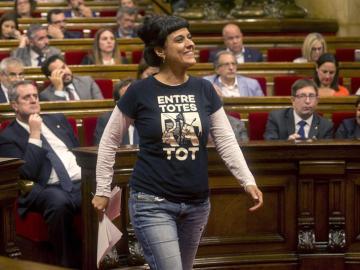 Anna Gabriel momentos antes de su discurso en el Parlament