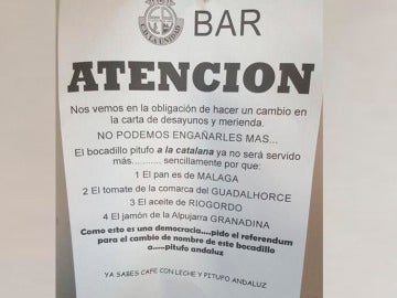 Mensaje del dueño de un bar de Málaga para cambiar el nombre de uno de sus bocadillos