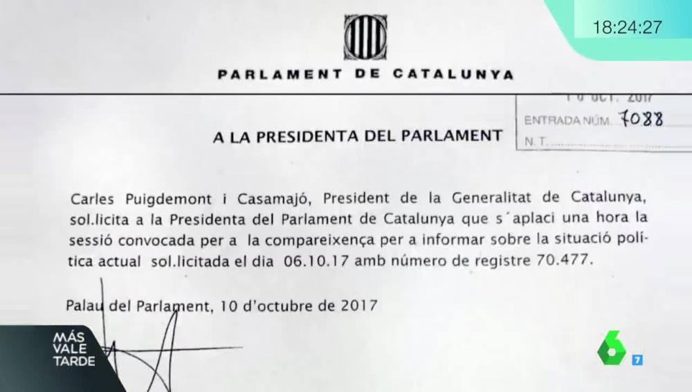 Documento en el que Puigdemont solicita aplazar el pleno